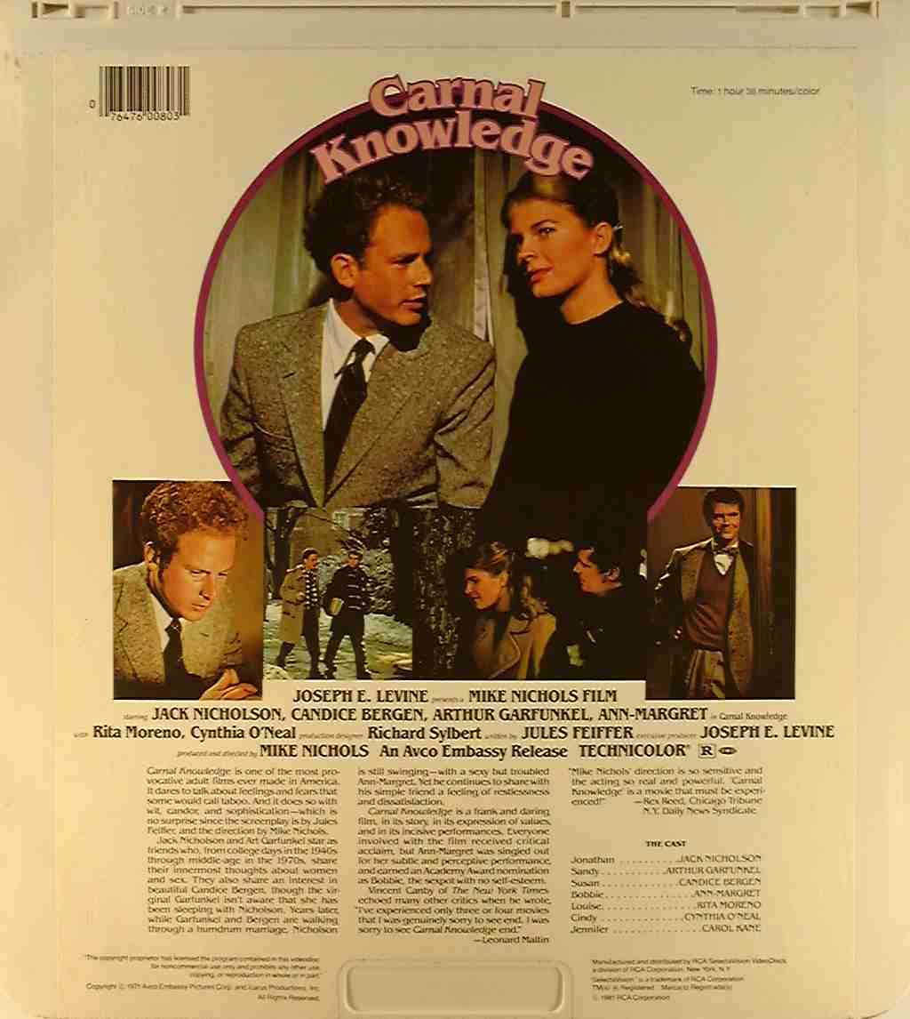 carnal knowledge 76476008031 u side 2 ced title blu ray previous disc side next disc side previous movie title next movie title imdb ced movie titles pre blu ray dvd ced magic home