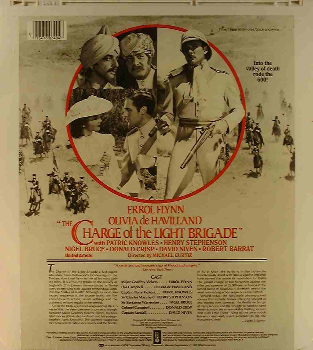 Charge of the Light Brigade, The [RCA] {76476034047} U - Side 2 - CED Title - Blu-ray DVD Movie ...