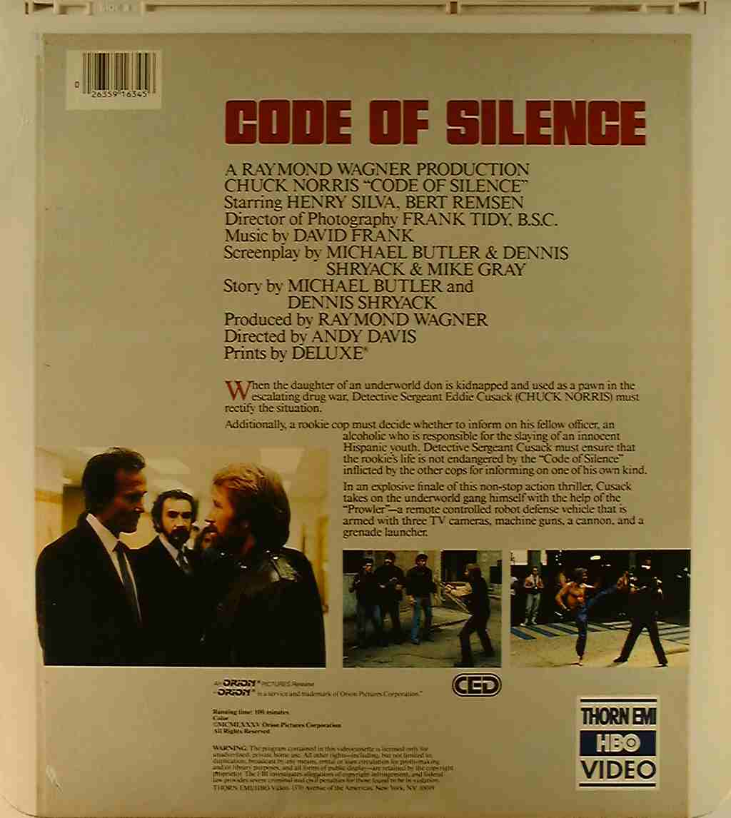 Code of Silence {26359163456} U - Side 2 - CED Title - Blu ...