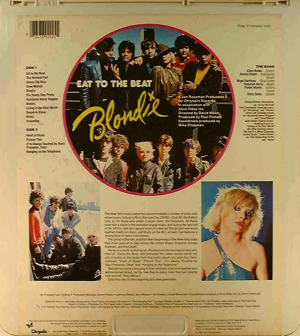 Eat to the Beat-- Blondie {76476020255} U - Side 2 - CED ...